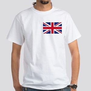 White T-Shirt with Union Jack British Flag